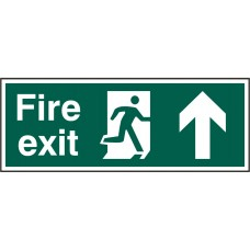 Fire exit (Man arrow up) Rigid PVC 40 x 15cm Safety Sign