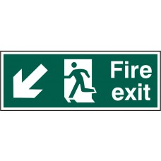 Fire exit (Man arrow down/left) Rigid PVC 40 x 15cm Safety Sign