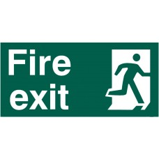 Fire exit (Man Right) Rigid PVC 30 x 15cm Safety Sign