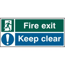 Fire exit keep clear Rigid PVC 45 x 20cm Safety Sign