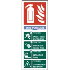Fire extinguisher - Dry powder 8.2 x 20.2cm Safety Sign Rigid PVC