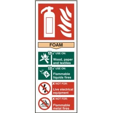 Fire extinguisher - Foam 8.2 x 20.2cm Safety Sign Rigid PVC