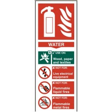 Fire extinguisher - Water 8.2 x 20.2cm Safety Sign Rigid PVC