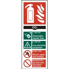 Fire extinguisher - CO2 8.2 x 20.2cm Safety Sign Rigid PVC