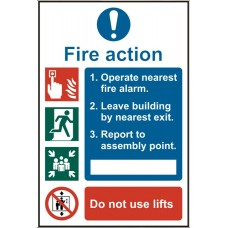 Fire action procedure 20 x 30cm Safety Sign Rigid PVC