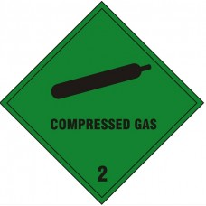 Compressed Gas Safety Sign Self Adhesive Vinyl