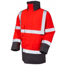 Red & Grey Leo Hi Vis class 3 Quilt Lined Water Resistant Coat