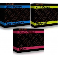 BlueDot Sterile Plasters x 100 (Blue Detectable, Washproof or Fabric) Assorted Sizes BOXED