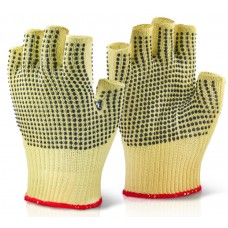 Aramid Fibre Fingerless Polka Dot Cut Resistant Safety Gloves cut level 4