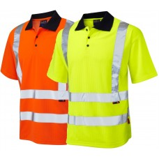 Leo Hi Viz Short Sleeve Polo Railspec Orange or Yellow Class 2 UV Protection