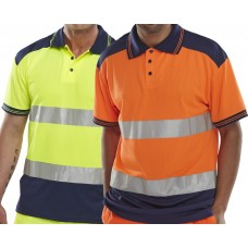 Hi Viz 2 Tone Yellow or Orange Polo Shirt Class 2 Click B Seen