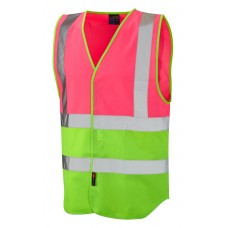 Pink and Lime High Visibility Corporate Vest Velcro Fastening