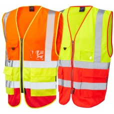 Red/Yellow/Orange Executive Zip Up Vest High Vis ID & Phone Pocket Class 2