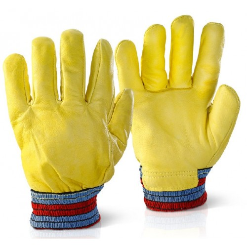 Cowhide Leather Fleece Lined Cold Weather Drivers Glove