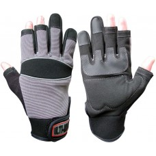 Ulti-Mecx Reinforced Palm Semi Fingerless Mechanics Work Gloves