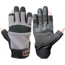 Ulti-Mecx Part Fingerless Motor Mechanics Reinforced Palm Work Gloves