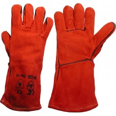 Uci Red Leather Welders Type A Contact Heat Resistant 100 Degrees Work Gauntlet