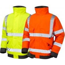 Leo Hi Vis Bomber Quilt Lined PU Coated Bomber Jacket Class 3 & Railspec