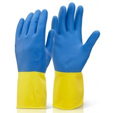 Natural latex blended neoprene chemical gloves.