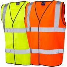 Velcro Fastening Class 2 Leo Hi Visibilty Vest Waistcoat Yellow