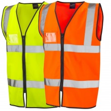 Zip Up with ID Badge Holder Leo High Vis Class 2 Yellow or Orange Vest