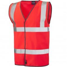 Red Class 2 Velcro Fastening Hi Visibilty Standard Leo Vest Waistcoat