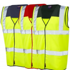 2 Colour Yellow & Navy, Red or Green Yoke High Visibility Waistcoat Class 2