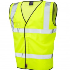 Open Mesh Upper Back Velcro Fastening Class 2 Yellow High Vis Leo Airport Vest