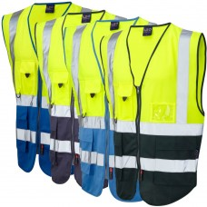 Yellow Top/Royal, Navy, Sky, Black, Green, Purple Lower Exec Zip Up Vest High Vis Class 1