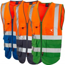Orange Top & Royal, Navy or Emerald Lower Exec Zip Up Vest High Vis Class 1