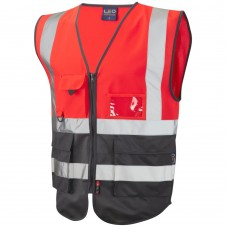 Red & Grey Executive Zip Up Vest High Vis ID & Phone Pocket Class 1