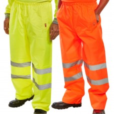 Waterproof PVC High Visibility Yellow or Orange Overtrousers Class 1