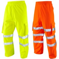 Breathable Waterproof Hi Viz Yellow or Orange Leo Cargo Overtrousers Class 1/ GO/RT
