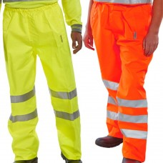 Breathable Waterproof PU Coated High Vis Overtrousers Yellow Class 1 & Railspec Orange