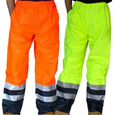 Breathable Waterproof Overtrousers Class 1 Yellow/Navy or Orange/Navy