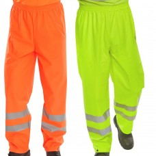 Hi-Vis Overtrousers Waterproof Breathable PU Class 1 Orange Ris-3279-Tom Railway Use Certified  or Yellow