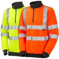Zip Neck Leo Sweatshirt High Visibility Ris-3279-Tom Railway Use Certified Orange or Yellow Class 3