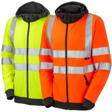Hooded Full Zip Leo Sweatshirt High Vis Yellow &  Ris-3279-Tom Railway Use Certified Orange