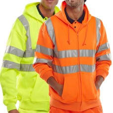 Hoody Hi Visibility Full Zip Sweatshirt Orange or Yellow Class 3