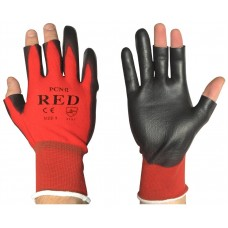 Traffic Light Red Nylon Semi Fingerless PU Palm Coated Safety Gloves