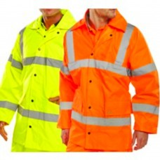 Lightweight Rain Coat Class 3 Yellow or Orange Click BSeen