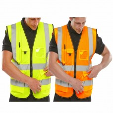 Executive High Vis Yellow or Orange Vest Zip up with Phone, ID, Pen Pockets Class 2