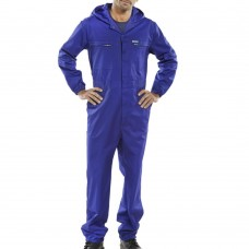 Hooded Poly Cotton Zip Front Royal Blue OutDoor Work Boilersuit