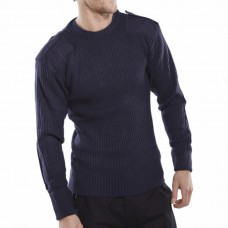 Military Style Crew Necked Sweater Navy Blue