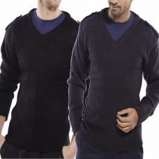 Military Style V Necked Sweater Navy Blue, Black