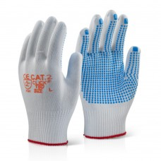 Click 2000 Tronix Blue PVC Dotted Palm Nylon Fibre Work Gloves Low Lint