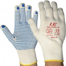 Low Lint Blue PVC Dotted Grip White Nylon Saftey Glove