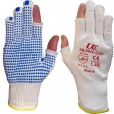 Low Lint Nylon with Blue PVC Dotted Semi Fingerless Precision Work Gloves