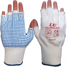 Fingerless Low Lint PVC Blue Palm Dotted Grip Delicate Ops Work Glove