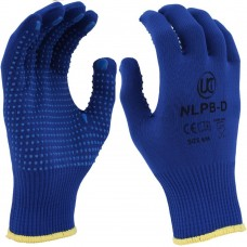 Low Lint Blue PVC Dotted Grip Blue Nylon Saftey Glove